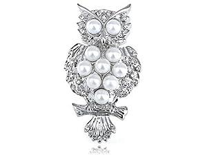 Silver Tone Faux Pearl Bead Alien Owl Bird Branch Crystal Rhinestone Pin Brooch