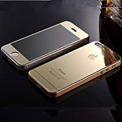 Electroplated Mirror Front + Back Tempered Glass Screen Protector for Apple Iphone 5 5S - GOLD