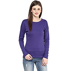 Hypernation Purple Color Round Neck Cotton T-shirt For Women
