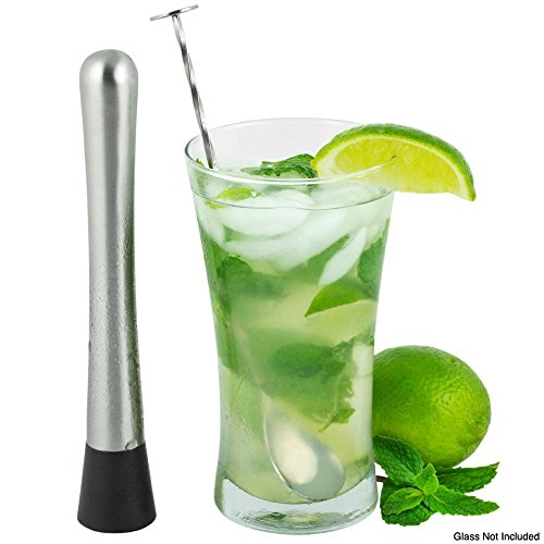 Stainless Steel Cocktail Muddler Drink Muddler and Mixing Spoon Set By Jump Tiger-Grooved Nylon Head-Best Bar Tool & Mojito Mixer - Create Delicious Refreshing Cocktails (Mixer Muddler compare prices)