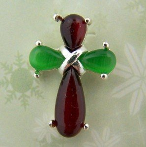 Womens Silver Plate Latin Cross w Red Green Stones Christmas Blessing Lapel Pin