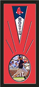 Boston Red Sox Wool Felt Mini Pennant & Dustin Pedroia Action Photo - Framed With... by Art and More, Davenport, IA