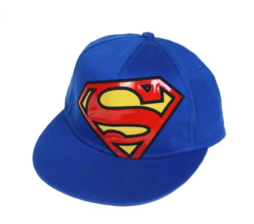 DC Comics Superman Large Vinyl Logo Mens Hat Cap (OSFA, Blue)