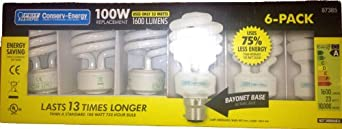 6 Pack of 23W (equivalent old 100W) Energy Saving bayonet Electric Light Bulbs