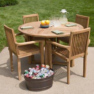 Orlando Teak Round Dining Table Set