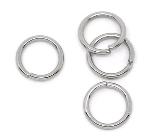 VALYRIA 200pcs Stainless Steel Open Jump Rings Connectors Jewelry Findings 10mm(3/8