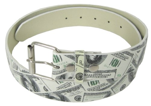 JTC Belt Money Print Faux Leather Belt W/ Detachable Buckle, Snap On. Small