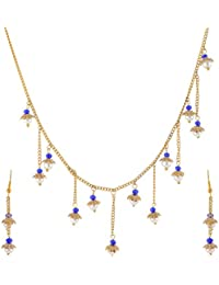 Glamore Blue & Gold Pearl Strand Necklace Set For Women (Necklace NK-192)