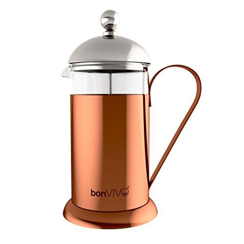 bonVIVO® GAZETARO II Caffettiera a presso-filtro (French Press) di design, in acciaio inox e vetro, con rifiniture in rame-cromo e filtri, misura: 035l / 350ml