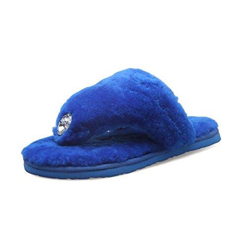 JIAJIA Lana di pecora Pantofole intera diamante casa pantofole peluche pantofole da pizzicare toe scarpe di cotone 2 3 4 5 6 7 8 9 10 11 35 36 37 38 39 40 , treasure blue , 40