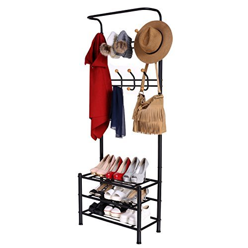 Homdox Metal Storage Bench with Coat Rack (Coat Rack Entryway compare prices)