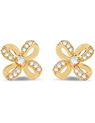 1.24 Grams White Cubic Zirconia Gold Plated Brass Earrings