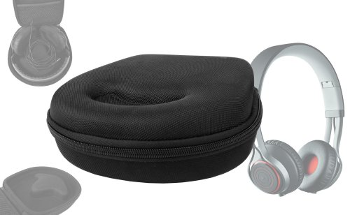 Duragadget Hard Eva Small Storage Case For Headphones / Earbuds For Jabra Revo Wireless - With Netted Compartment (Black)