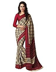 AG Lifestyle Women's Silk Saree(SD113, Beige & Maroon)