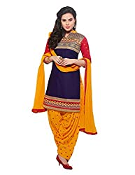 Blue and Yellow Cotton Embroidered Patiala Salwar Suit