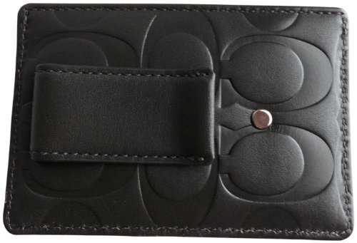 Coach   Coach Mens Embossed Money Clip Card Case 74418 Olive