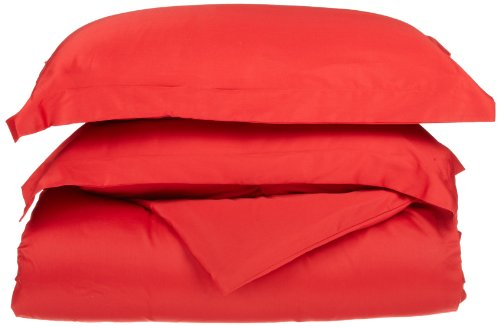 Impressions Genuine Egyptian Cotton 300 Thread Count Twin 2-Piece Duvet Cover Set Solid, Red back-775300