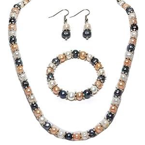Multi-Color Freshwater Pearl Necklace Earrings Bracelet Set 7-8mm 18
