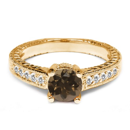 0.32 Ct Round Brown Smoky Quartz White Topaz 925 Yellow Gold Plated Silver Ring