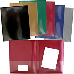 StoreSMART - Classic Colors - 6-pack: 1 of each color - Plastic Archival Twin Pocket Folders - For Business, School, & Home - R900CCP6