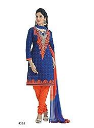 RK Fashion Womens Cotton Un-Stitched Salwar Suit Dupatta Material ( RAJGURU-PHENAWA-520-9261-Blue-Free Size )