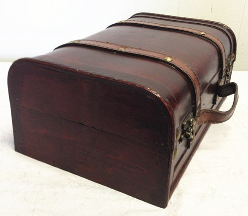 Faux Leather Decorative Wooden Storage Trunk (HF 008C-2)