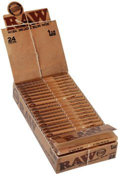 Raw 1 1/4 Natural Unbleached Rolling Papers 24Ct, Box