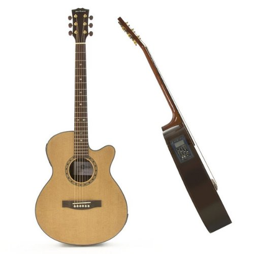 Deluxe Single Cutaway Electro Acoustic Guitar Natural