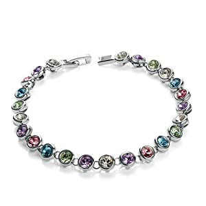 [Mother's Day]Yoursfs 18K White Gold Plated Colorful Crystal Rhinestone Charms Bangle Bracelet For Mother's Day Gift