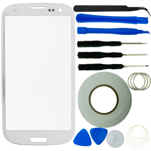 Samsung Galaxy S3 Screen Replacement Kit Inlcuding 1 Replacement Glass For Samsung Galaxy S3 (Glass Only - Digitizer Not Included) / 8 Piece Tool Kit / 2Mm Adhesive Sticker Tape / 1 Pair Of Tweezers / 1 Eco-Fused® Microfiber Cleaning Cloth (White)