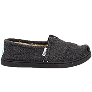 Toms Youth Classics in Black Herringbone 4