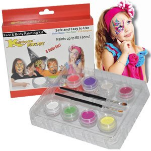 Kustom Body Art Girls Face Paint Set 8 Color Boxed Set, 3 Ml Each, 2 Makeup Brushes, a Full 8 Color Girls Rainbow Pallet, Perfect for Face Painting At Any Children's Party.