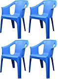 "Resol ""Cool"" Garden Outdoor / Indoor Designer Plastic Chairs - Blue - Garden Furniture (Pack of 4 chairs)"