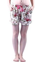 Vixenwrap Daisy White Floral Print Shorts(XL_White)