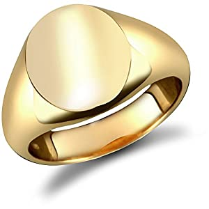 Jewelco London 9ct Solid Gold polished oval shaped Signet Ring,Size T