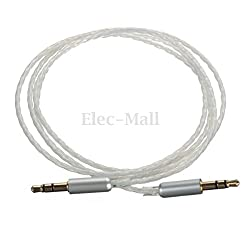 Car Aux Stereo Male to Male Audio PTFE Silver Plated Cable - Length:1M