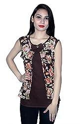 Cherry Clothing Women's Top (CGT1016 XL_Brown_X-Large)