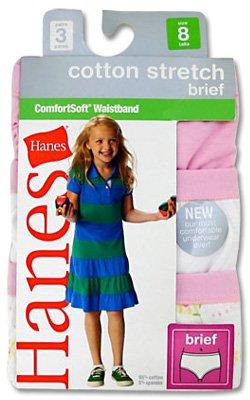 Hanes Girls Tagless Cotton Stretch ComfortSoft Briefs (3-Pack)