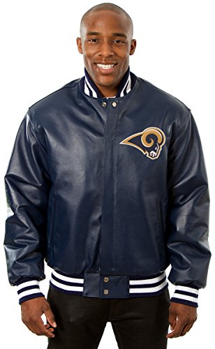 Los Angeles Rams Men's Leather Jacket with Hand Crafted Leather Team Logos (X-Large)