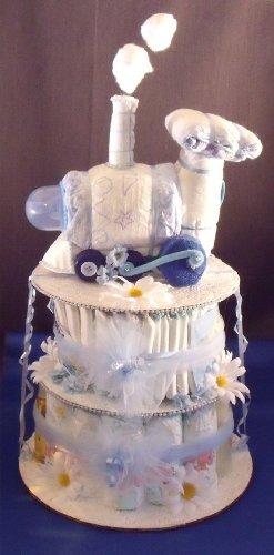 Blue Train Engine Baby Shower Gift Diaper Cake Centerpiece
