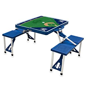 MLB Milwaukee Brewers Baseball Field Design Portable Folding Table and Seats, Blue by Picnic Time
