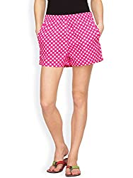 Hypernation Pink and White Polka Dotted Shorts for Women
