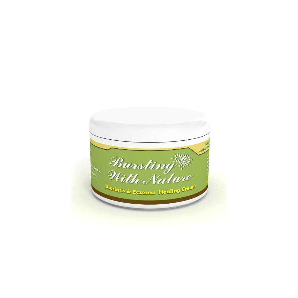 Eczema, Psoriasis & Dermatitis Cream   Safe For Baby. Chemical Free 100% Natural Intense Moisturizer. Protects, Repairs & Calms Itchy Skin. Antibacterial & Anti Inflammatory By BurstingWithNature 8oz
