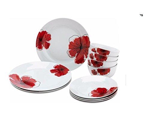 50 Pièces Blanc Rond Dîner Set Porcelaine Vaisselle Vaisselle 6 Place Setting