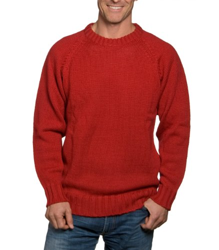 Mens Crew Neck Fishermans Jumper Red Extra Large
