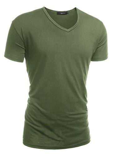 hemoon-herren-slim-fit-kurzarm-t-shirt-basic-v-ausschnitt-tee-einfarbig-militar-grun-m