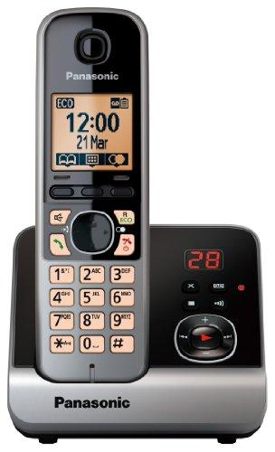 Panasonic KX-TG6721GB Schnurlostelefon (4,6 cm (1,8 Zoll) Display, Smart-Taste, Freisprechen, Anrufbeantworter) schwarz