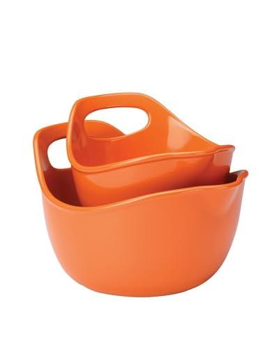 Rachael Ray Stoneware Serving & Mixing Bowl Set, Orange