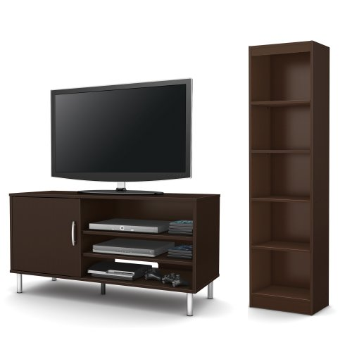 South Shore Renta 2-Piece Living Room Set, Includes Tv Stand And 5-Shelf Bookcase, Chocolate front-908945