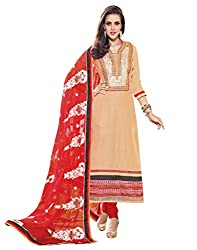 Inddus Women Peach & Red Color Dress Material